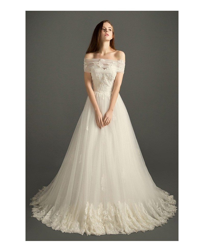 Romantic ball gown sweetheart court train tulle wedding for Wedding dress lace train