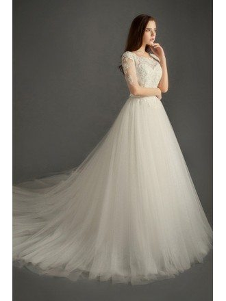 Romantic Ball-gown Scoop Neck Cathedral Train Tulle Wedding Dress With Sleeves