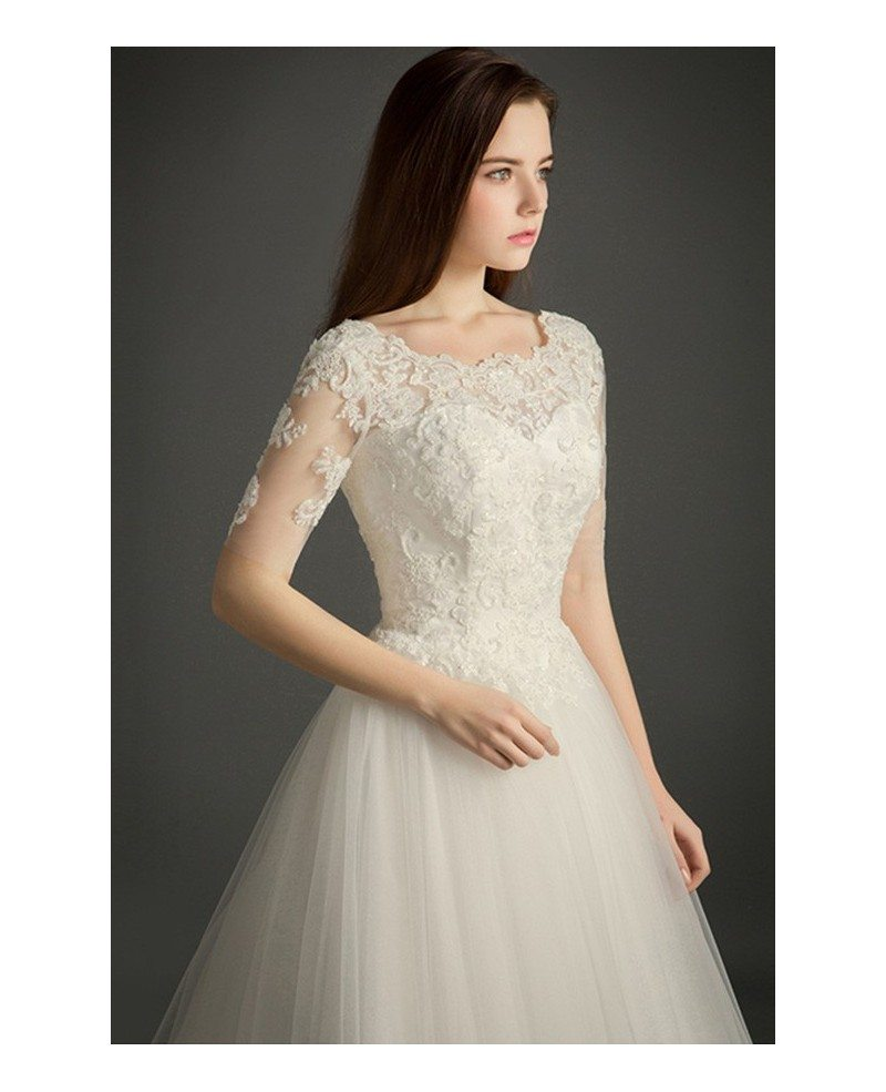 Romantic ball gown scoop neck cathedral train tulle for Tulle wedding dress with sleeves