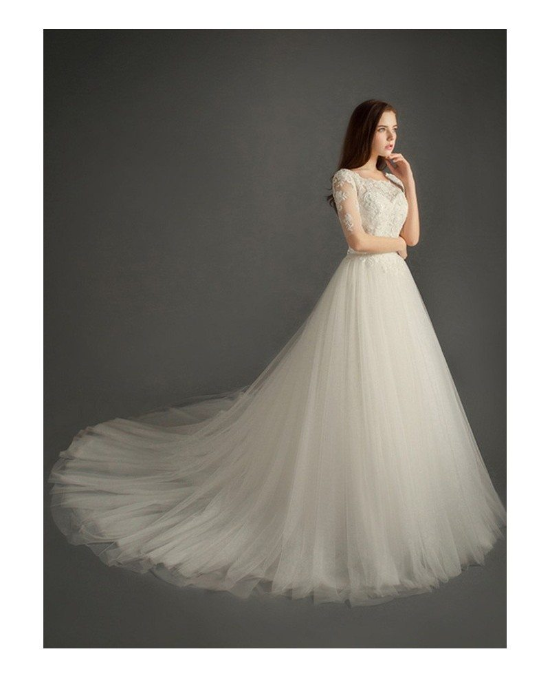Romantic ball gown scoop neck cathedral train tulle for What shoes to wear with a ball gown wedding dress