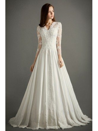Charmant Classic A Line V Neck Cathedral Train Lace Satin Wedding Dress With Sleeves