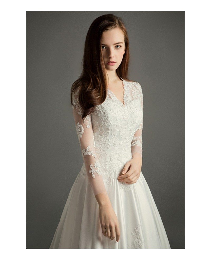 Classic a line v neck cathedral train lace satin wedding for Silk wedding dresses with sleeves