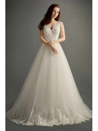 Romantic Ball-gown V-neck Court Train Tulle Wedding Dress With Appliques Lace