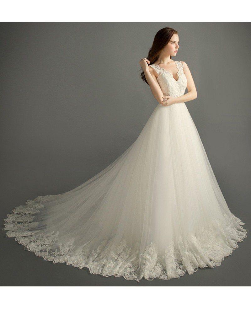 romantic ballgown vneck court train tulle wedding dress