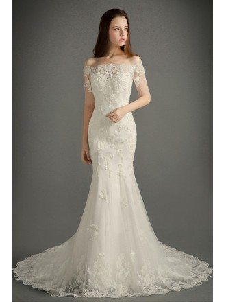 Classic Mermaid Off-the-shoulder Sweep Train Tulle Wedding Dress With Appliques Lace