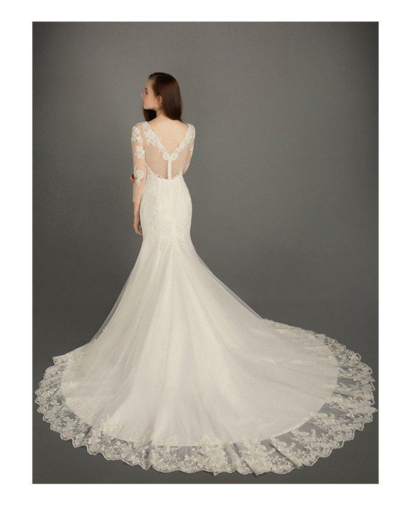 Modest mermaid v neck chapel train tulle wedding dress for Wedding dresses chapel train