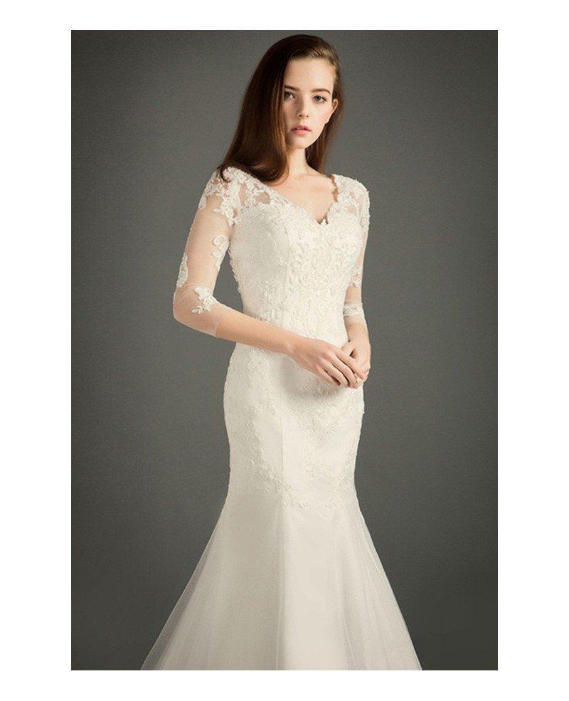 Modest mermaid v neck chapel train tulle wedding dress for Mermaid v neck wedding dress