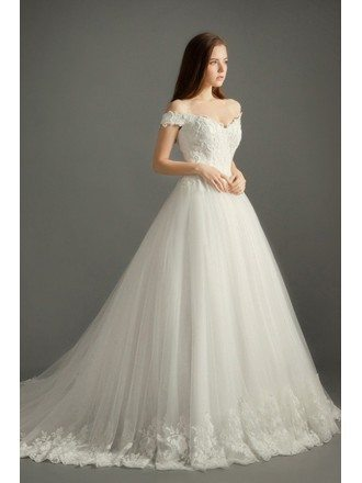 Luxury Ball-gown Off-the-shoulder Cathedral Train Tulle Wedding Dress