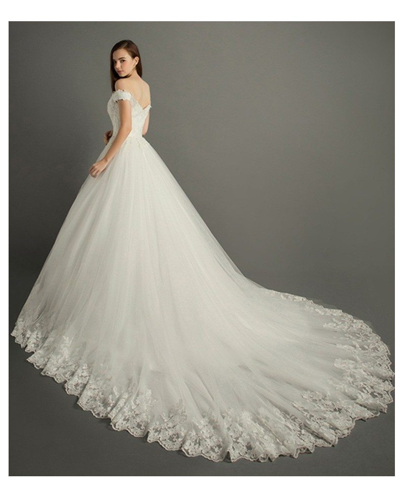 Luxury ball gown off the shoulder cathedral train tulle for Off the shoulder ball gown wedding dress