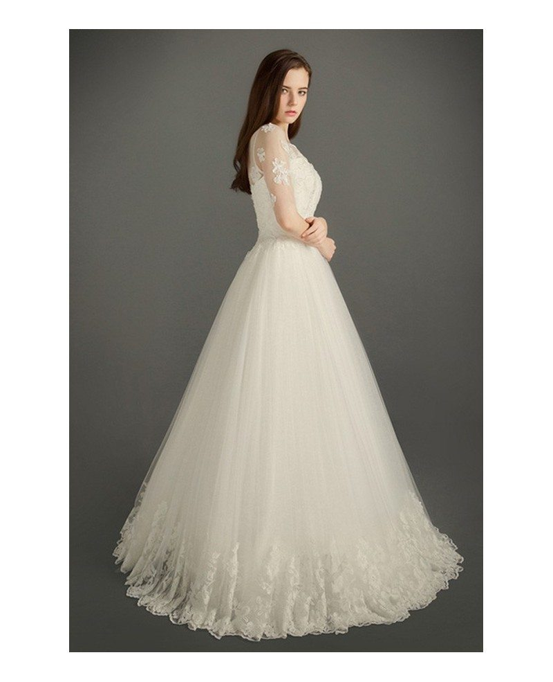 Modest a line scoop neck floor length tulle wedding dress for Modest a line wedding dresses