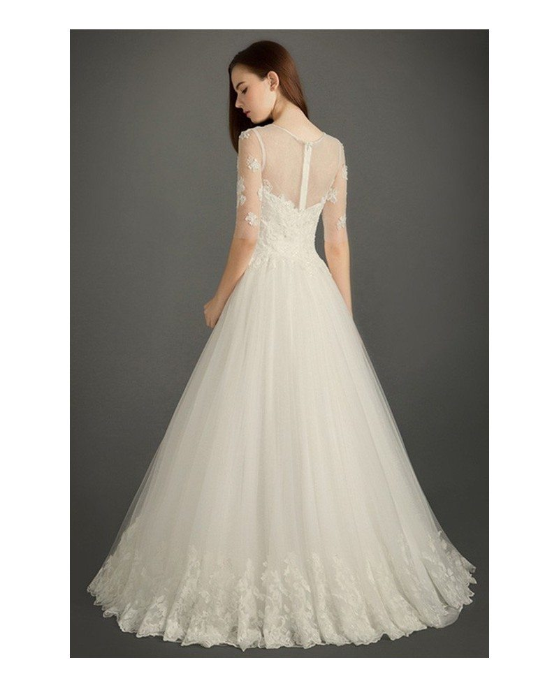Modest A Line Scoop Neck Floor Length Tulle Wedding Dress