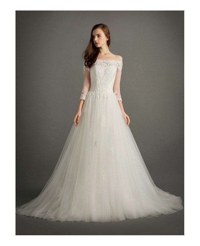 Elegant Ball-gown Off-the-shoulder Court Train Tulle Wedding Dress ...