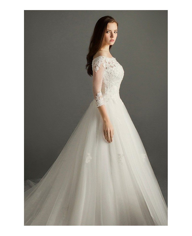 Elegant ball gown off the shoulder court train tulle for Tulle wedding dress with sleeves