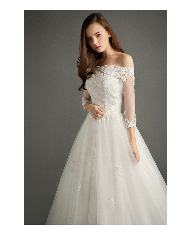 Elegant ball gown off the shoulder court train tulle for Elegant ball gown wedding dresses