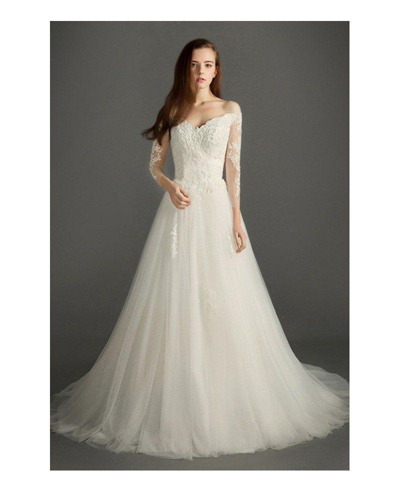 Feminine a line v neck court train tulle wedding dress for V neck wedding dress with sleeves