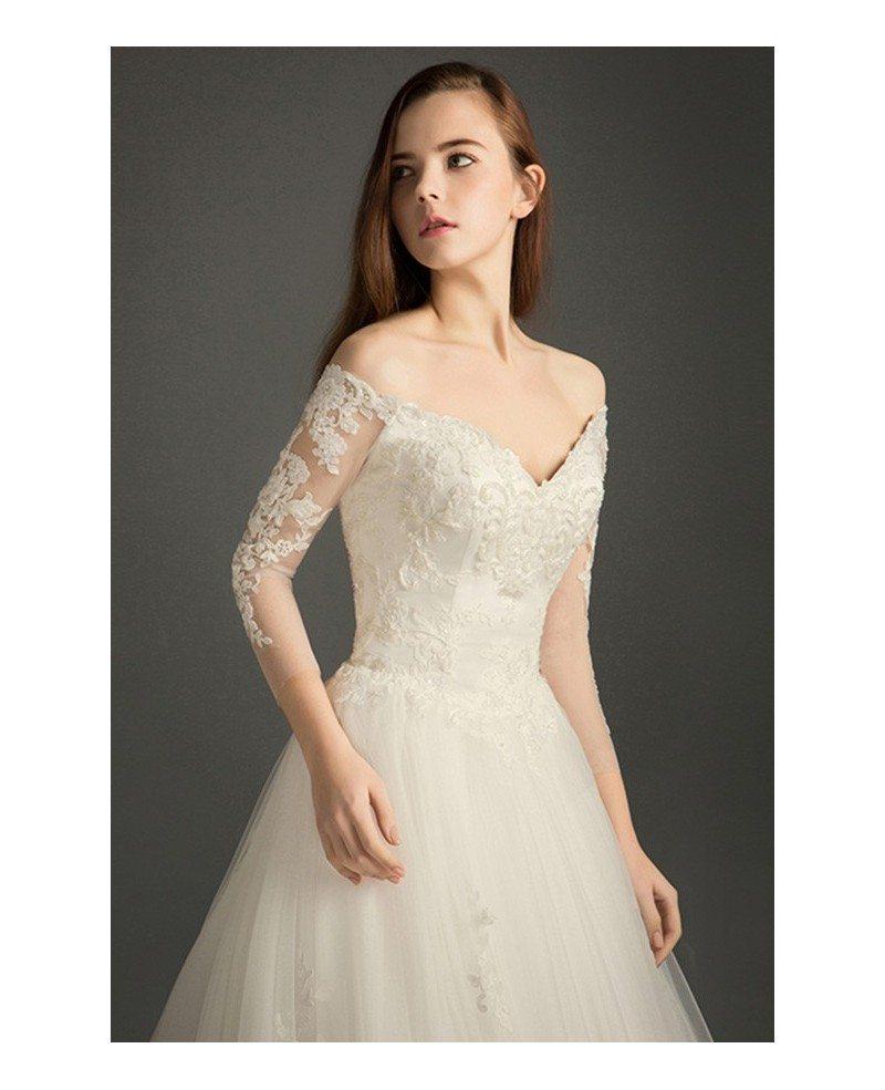 Feminine a line v neck court train tulle wedding dress for V neck a line wedding dresses