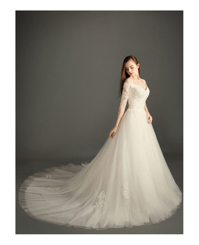 Feminine a line v neck court train tulle wedding dress for Tulle wedding dress with sleeves