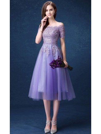 Romantic A-line Off-the-shoulder Tea-length Tulle Formal Dress With Beading