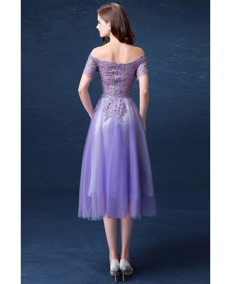 Modest Cheap Homecoming Dresses Purple Off The Shoulder