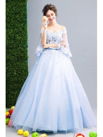 Blue Ball-gown Off-the-shoulder Floor-length Tulle Wedding Dress With Flowers
