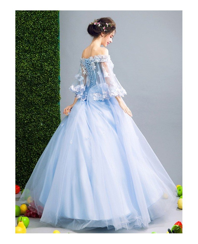 Blue Ball-gown Off-the-shoulder Floor-length Tulle Wedding Dress ...