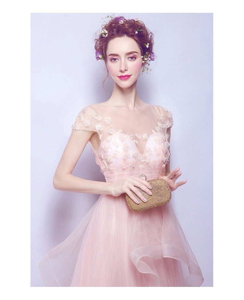 Blush a line scoop neck sweep train tulle wedding dress for Blush tulle wedding dress