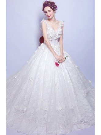 Dreamy Ball-gown V-neck Court Train Tulle Wedding Dress With Flowers