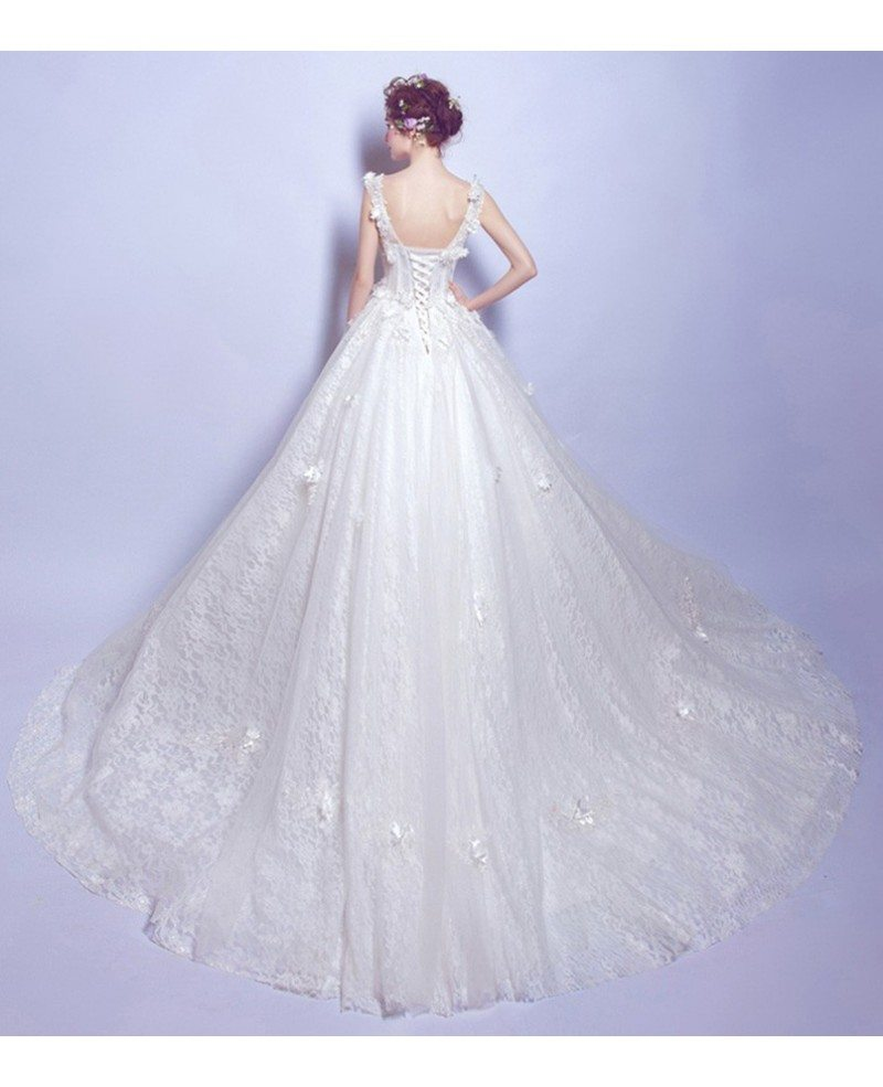 Dreamy Ball Gown V Neck Court Train Tulle Wedding Dress With Flowers TJ004 190