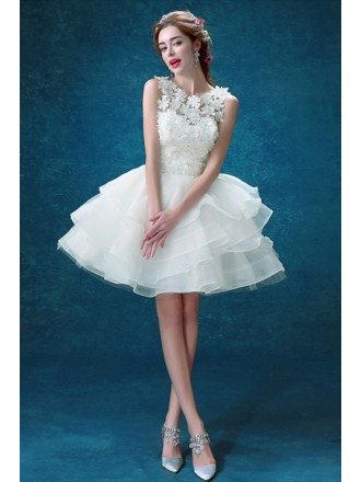 Lovely Ball-gown Scoop Neck Short Organza Wedding Dress With Flowers