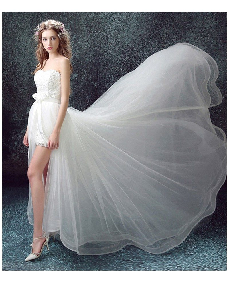 Unique Wedding Dresses: 2017 Flowy Tulle High Low Wedding Dresses With Train