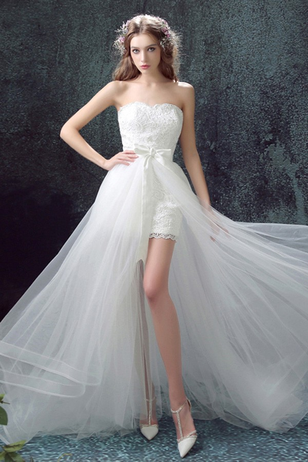 2017 Flowy Tulle High Low Wedding Dresses With Train