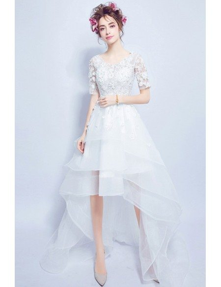 Cheap beach high low wedding dresses with sleeves special for Tulle high low wedding dress