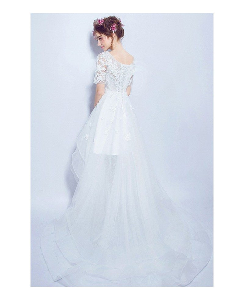Cheap beach high low wedding dresses with sleeves special for High low wedding dresses cheap
