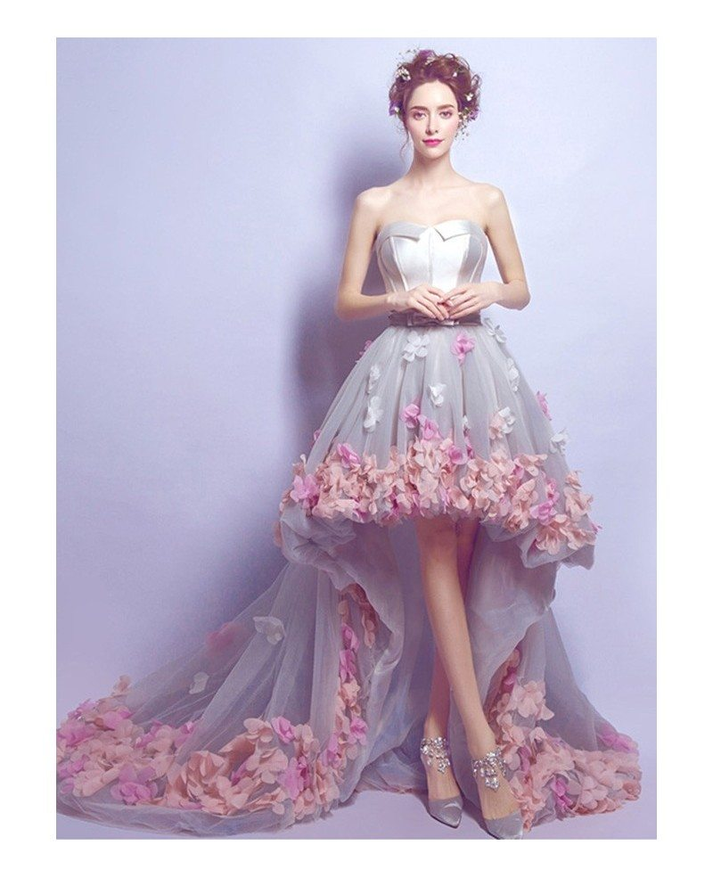 Dreamy High Low Sweetheart Tulle Wedding Dress With Flowers TJ009 190