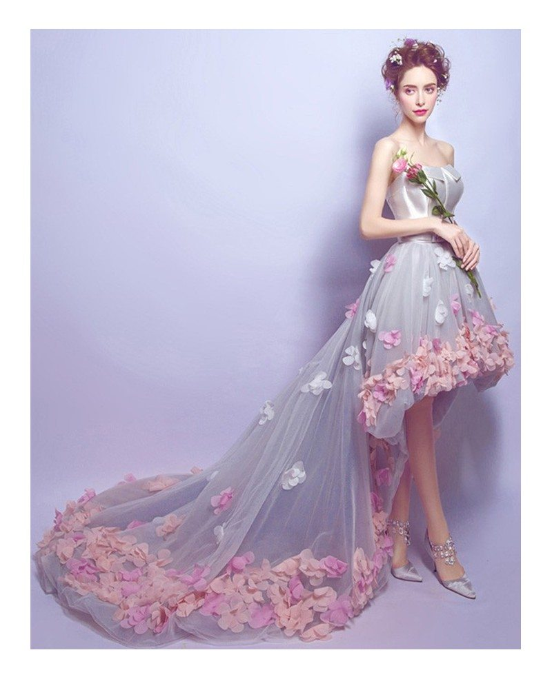 Low Cost Wedding Flowers: Dreamy High Low Sweetheart Tulle Wedding Dress With