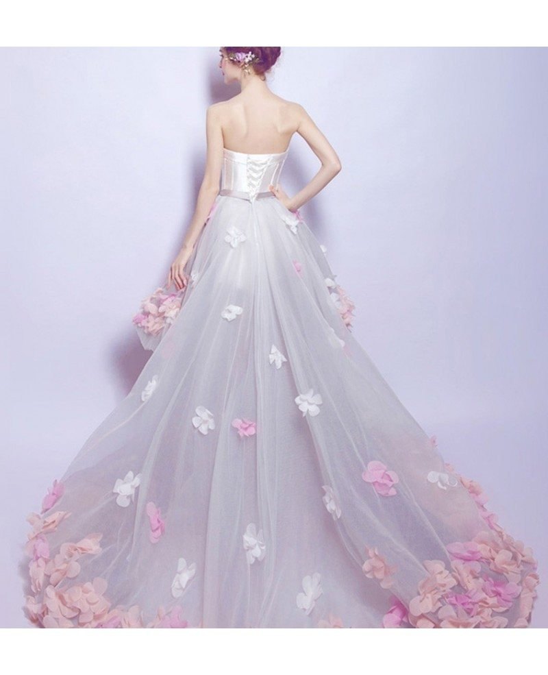 Dreamy high low sweetheart tulle wedding dress with for Tulle high low wedding dress