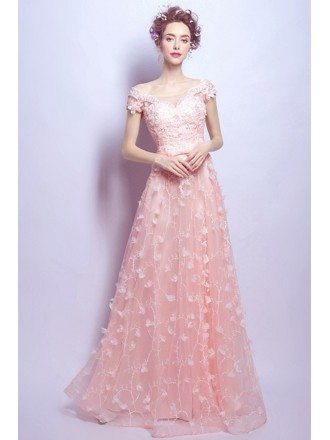 Blush A-line Scoop Neck Floor-length Tulle Wedding Dress With Appliques Lace