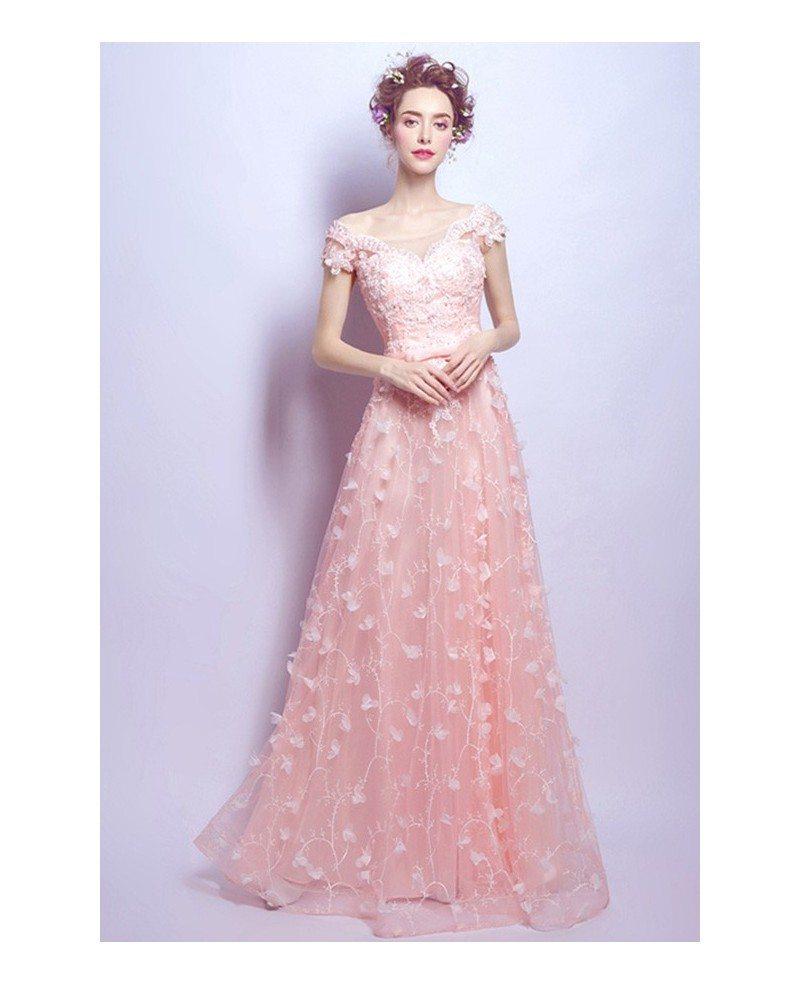 Blush A Line Scoop Neck Floor Length Tulle Wedding Dress