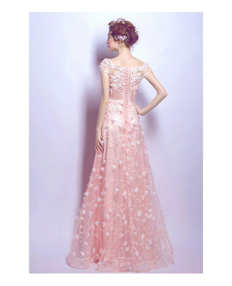 Blush a line scoop neck floor length tulle wedding dress for Lace blush wedding dress