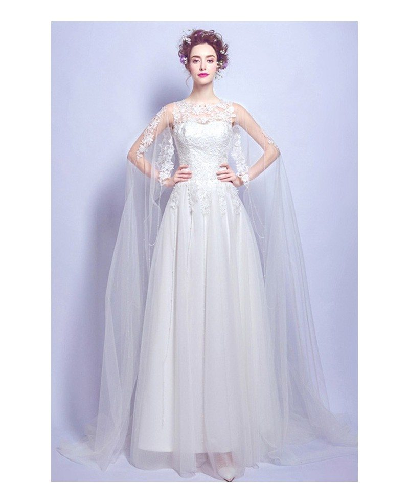 Special a line scoop neck floor length tulle wedding dress for Tulle a line wedding dress