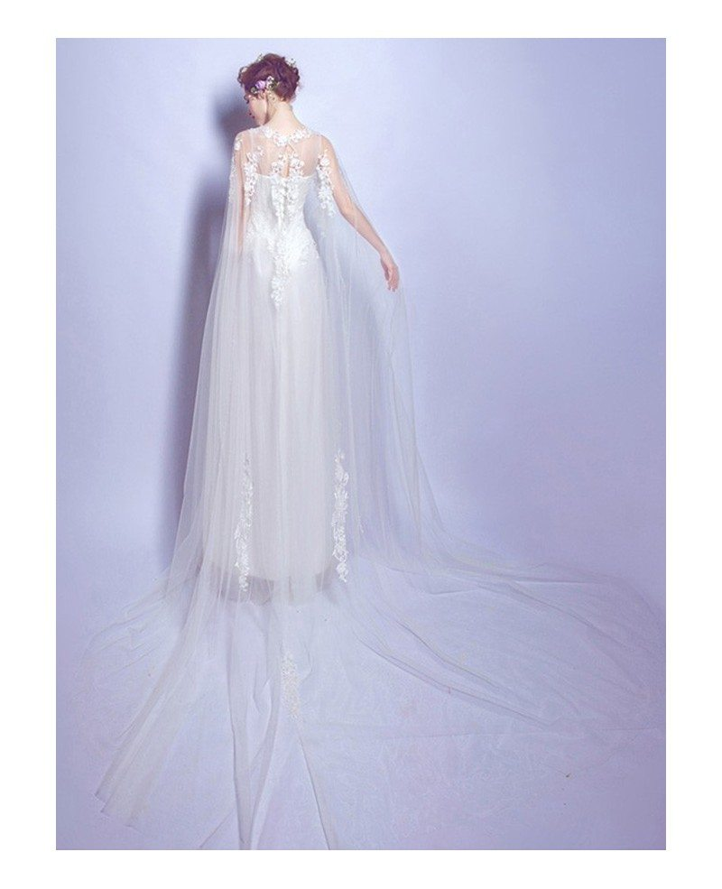 Special a line scoop neck floor length tulle wedding dress for A line tulle wedding dress