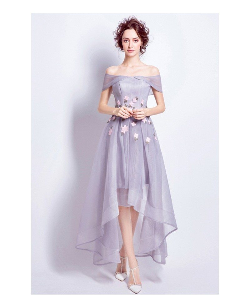Off Shoulder High Low Wedding Dresses Tea Length Tulle Lavender ...