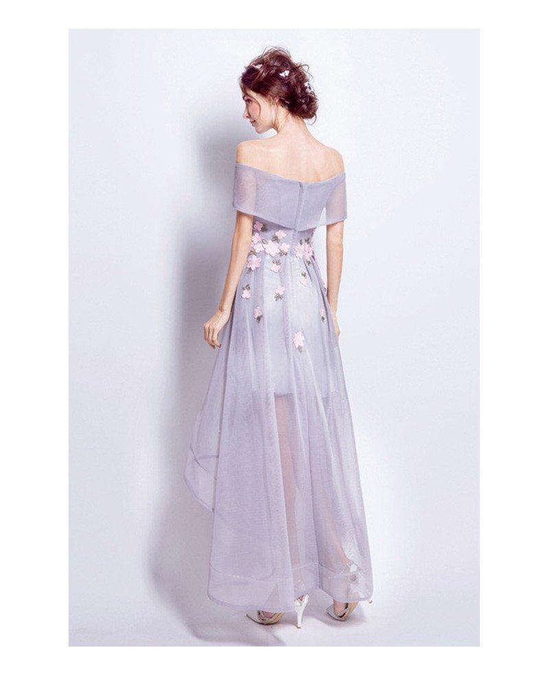 Off Shoulder High Low Wedding Dresses Tea Length Tulle Lavender Style With Flowers TJ015 109