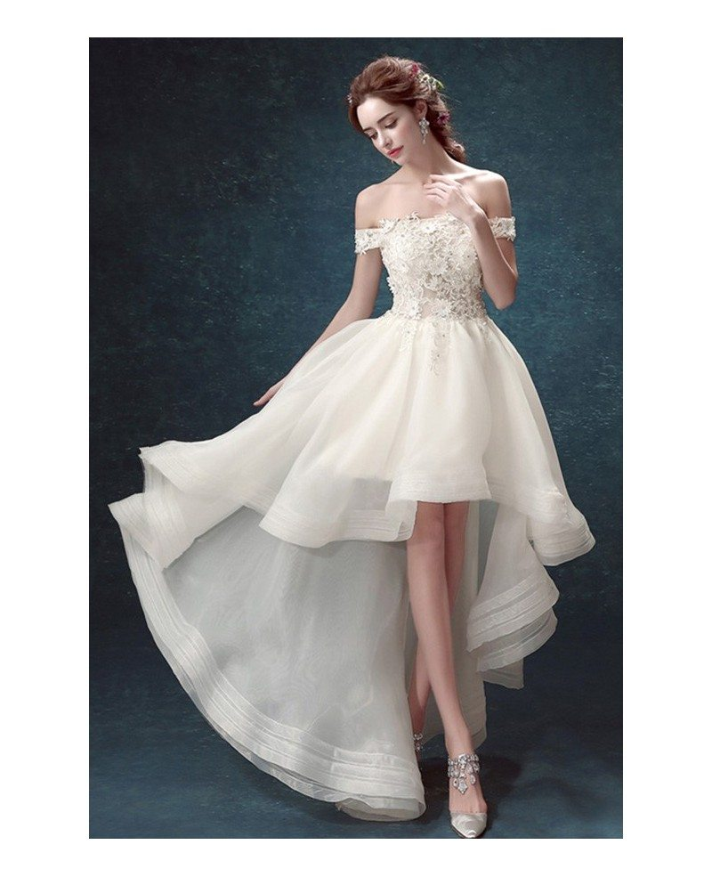 Off shoulder high low wedding dresses tulle ruffles chic for Wedding dresses to buy off the rack