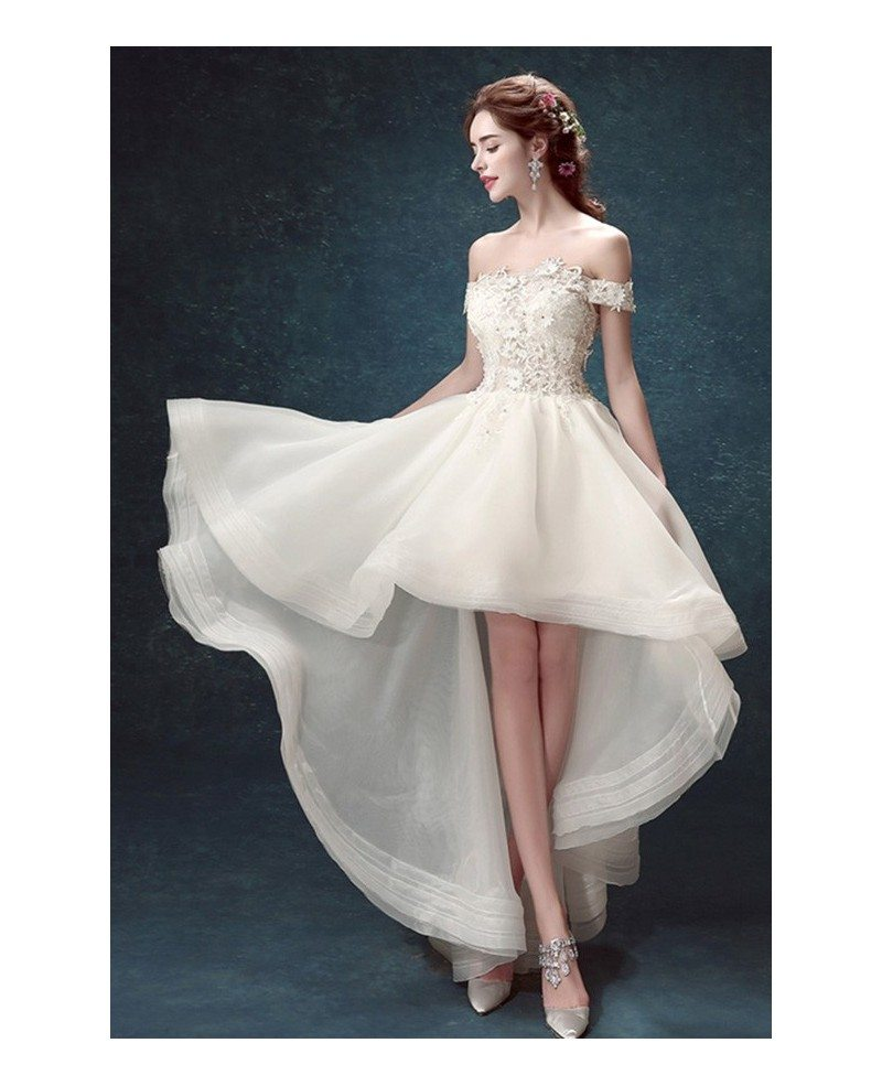 Off Shoulder High Low Wedding Dresses Tulle Ruffles Chic Style With Appliques Lace TJ016 149