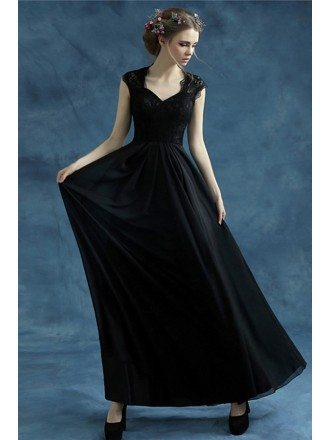 Black A-line V-neck Floor-length Chiffon Bridesmaid Dress With Lace