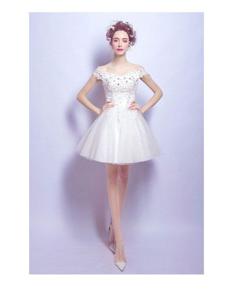 2017 Tulle Short Wedding Dresses Off The Shoulder Sweet A