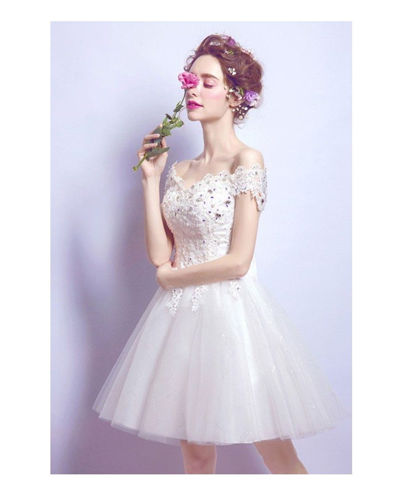 2017 tulle short wedding dresses off the shoulder sweet a for Off the shoulder tulle wedding dress