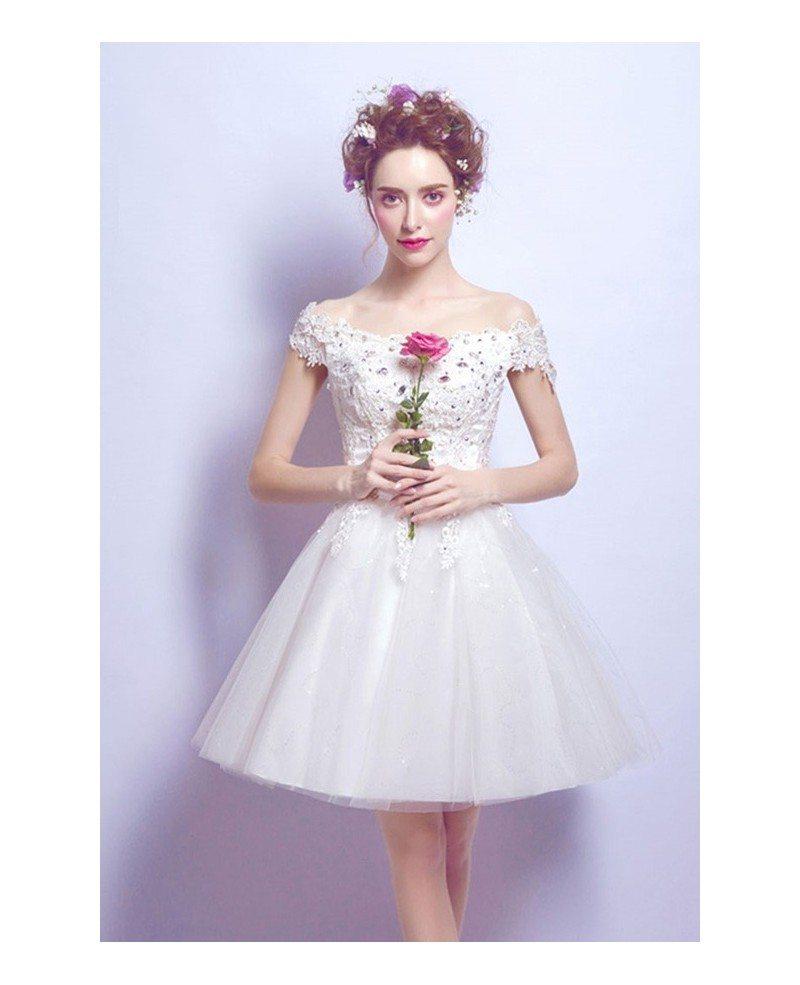 A Line White Tulle Wedding Dress 2017 Arabic Bridal: 2017 Tulle Short Wedding Dresses Off The Shoulder Sweet A