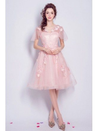 Pink A-line V-neck Knee-length Tulle Formal Dress With Flowers